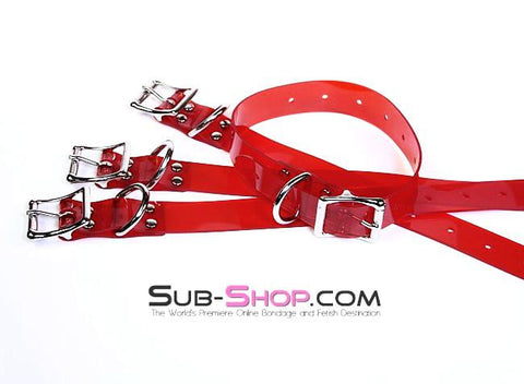 "1792A   Passion Red Luxe PVC 1"" Bondage Straps - <b>6 Sizes!</b> - Sub-Shop.comStraps - 4"