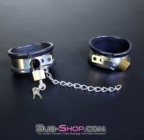 1844M       Steel Your Heart Rubber Lined Stainless Steel Locking Cuffs - Sub-Shop.comSteel Bondage - 6