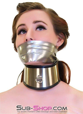 1845M     Beg, Swallow and Steel Rubber Lined Stainless Steel Locking Posture Collar - Sub-Shop.comCollar - 1