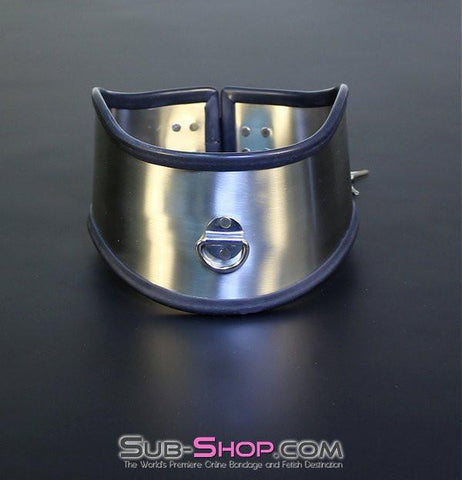 1845M     Beg, Swallow and Steel Rubber Lined Stainless Steel Locking Posture Collar - Sub-Shop.comCollar - 2