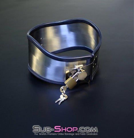 1845M     Beg, Swallow and Steel Rubber Lined Stainless Steel Locking Posture Collar - Sub-Shop.comCollar - 10