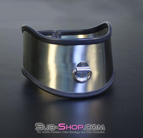 1845M     Beg, Swallow and Steel Rubber Lined Stainless Steel Locking Posture Collar - Sub-Shop.comCollar - 4