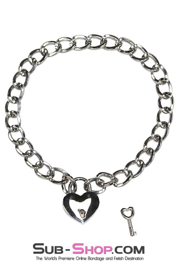 "Slave Pet 16"" Locking Chrome Jeweled Chain Collar with Heart Padlock - Sale BDSM, Bondage Gear, Adult Toys, Bondage Sex, Orgasm Belt, Male Chastity, Bondage Gag. Bondage Slave Collars, Wrist Cuffs, Submissive, Dominant, Master, Mistress, Cross Dressing, Sex Toys, Bondage Sale, Bondage Clearance, MEGA Deal Bondage, Sub-Shop Bondage and Fetish Superstore"