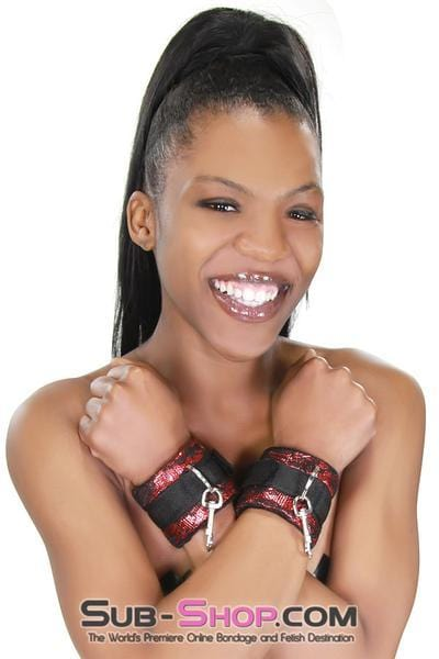 Lace Velcro Closure Wrist Cuffs with Attached Snap Hook Connectors - Sale BDSM, Bondage Gear, Adult Toys, Bondage Sex, Orgasm Belt, Male Chastity, Bondage Gag. Bondage Slave Collars, Wrist Cuffs, Submissive, Dominant, Master, Mistress, Cross Dressing, Sex Toys, Bondage Sale, Bondage Clearance, MEGA Deal Bondage, Sub-Shop Bondage and Fetish Superstore