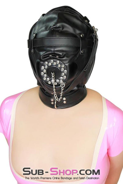Complete Captive Locking Sensory Deprivation Hood with Open Mouth Plug Gag - Sale BDSM, Bondage Gear, Adult Toys, Bondage Sex, Orgasm Belt, Male Chastity, Bondage Gag. Bondage Slave Collars, Wrist Cuffs, Submissive, Dominant, Master, Mistress, Cross Dressing, Sex Toys, Bondage Sale, Bondage Clearance, MEGA Deal Bondage, Sub-Shop Bondage and Fetish Superstore