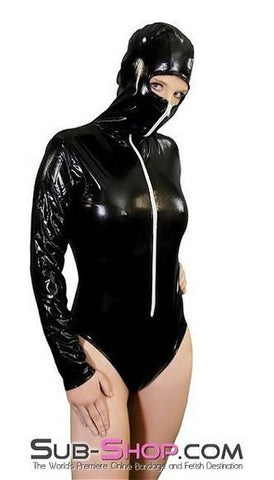 2200ZG   Bondage Girl Hooded Black Vinyl PVC Bodysuit - Sub-Shop.comCostumes - 1