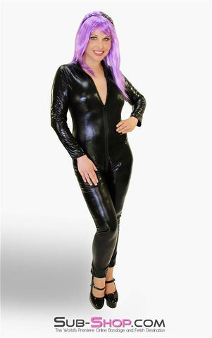 2220ZG   Black Widow PVC Black Catsuit with Full Crotch Zipper - Sub-Shop.comCatsuit - 2
