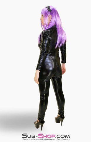 2220ZG   Black Widow PVC Black Catsuit with Full Crotch Zipper - Sub-Shop.comCatsuit - 5