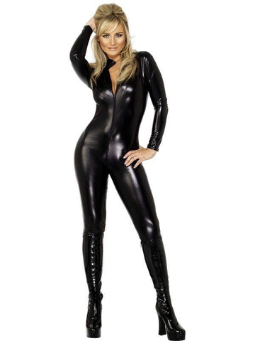 2220ZG   Black Widow PVC Black Catsuit with Full Crotch Zipper - Sub-Shop.comCatsuit - 9