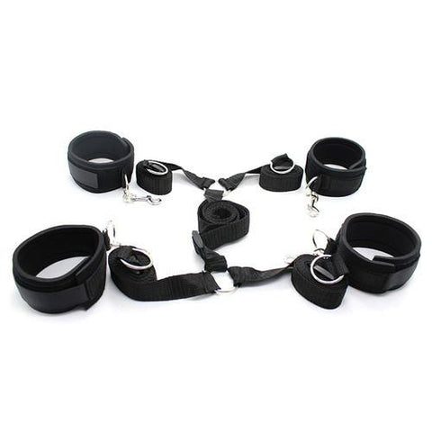 2231M    Bed Bindings Bondage Padded Wrist & Ankle Cuffs and Bed Straps Starter Kit - Sub-Shop Bondage and Fetish Superstore