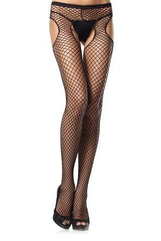 2241L    Fishnet Fetish Garter Belt Open Crotch and Rear Black Pantyhose - Sub-Shop.comPantyhose
