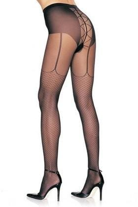 2242L    Sexy Faux Lace-Up Black Garterbelt Pantyhose - Sub-Shop.comPantyhose