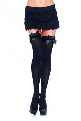 2251L    Bondage & Bows Thigh High Ruffle Bow Top Stockings - Sub-Shop.comStockings