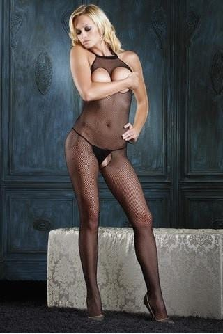 2260L   Peek-A-Boo Open Breast & Open Crotch Black Fishnet Bodystocking - Sub-Shop.comStockings