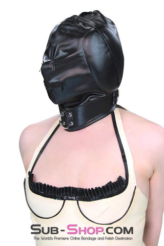 2286ZG      Sensory Deprivation Zippered Eyes and Mouth Hood with Ear Pads - Sale BDSM, Bondage Gear, Adult Toys, Bondage Sex, Orgasm Belt, Male Chastity, Gags. Bondage Slave Collars, Wrist Cuffs, Submissive, Dominant, Master, Mistress, Crossdresser, Sub-Shop Bondage and Fetish Superstore
