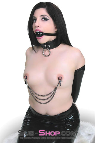 228M      Blackline Triple Chain Nipple Jewelry Clamps - Sale BDSM, Bondage Gear, Adult Toys, Bondage Sex, Orgasm Belt, Male Chastity, Gags. Bondage Slave Collars, Wrist Cuffs, Submissive, Dominant, Master, Mistress, Crossdresser, Sub-Shop Bondage and Fetish Superstore