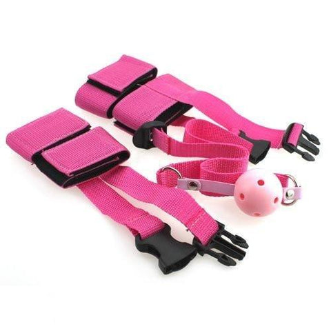 2315M       Wrists, Ankles and Breather Gag Beginners Velcro Love Bondage Kit - Sale BDSM, Bondage Gear, Adult Toys, Bondage Sex, Orgasm Belt, Male Chastity, Gags. Bondage Slave Collars, Wrist Cuffs, Submissive, Dominant, Master, Mistress, Crossdresser, Sub-Shop Bondage and Fetish Superstore