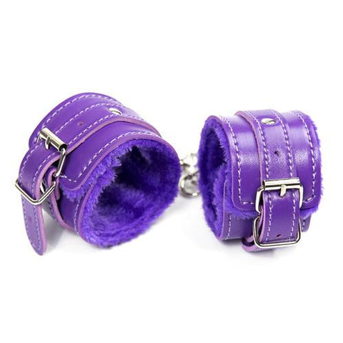 2322M     Purple Fur Lined Ankle Cuffs - Sub-Shop Bondage and Fetish Superstore