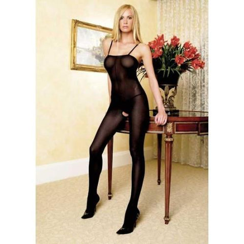 232L     Opaque Black Suspender Open Crotch Bodystocking - Sub-Shop.comStockings - 2