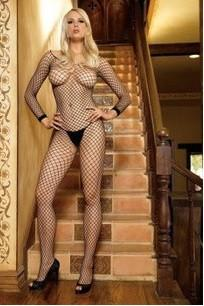 234L    Lycra Long Sleeve Black Industrial Fishnet Crotchless Bodystocking - Sub-Shop.comStockings