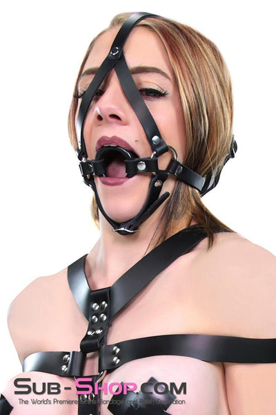 2411A    Oh MY! Black Leather Ring Gag Trainer Harness - Sale BDSM, Bondage Gear, Adult Toys, Bondage Sex, Orgasm Belt, Male Chastity, Gags. Bondage Slave Collars, Wrist Cuffs, Submissive, Dominant, Master, Mistress, Crossdresser, Sub-Shop Bondage and Fetish Superstore