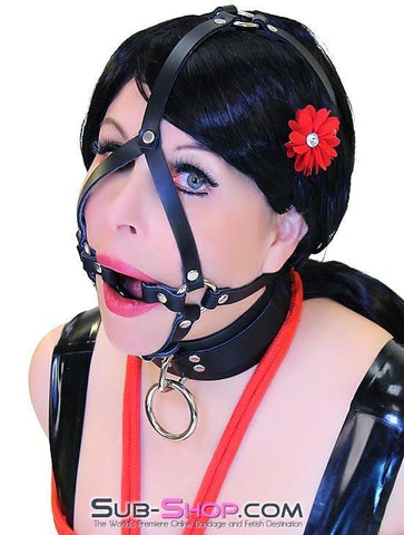 2411A    Oh MY! Black Leather Ring Gag Trainer Harness - Sub-Shop.comGags - 2