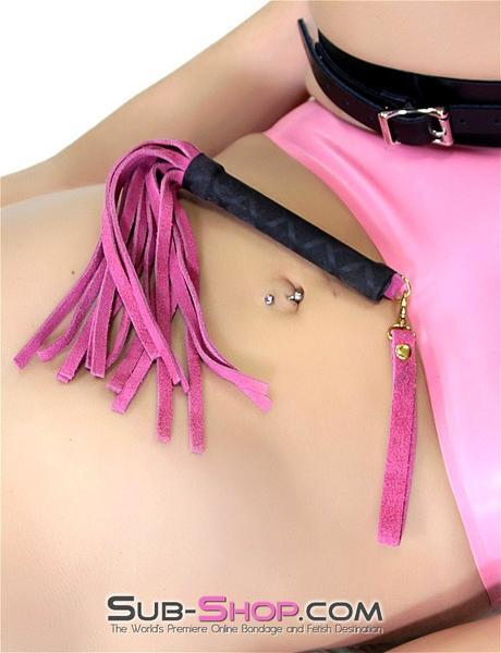 241DL      Pink Suede Gold Rush Mini Flogger - <b>MEGA Deal</b> - Sale BDSM, Bondage Gear, Adult Toys, Bondage Sex, Orgasm Belt, Male Chastity, Gags. Bondage Slave Collars, Wrist Cuffs, Submissive, Dominant, Master, Mistress, Crossdresser, Sub-Shop Bondage and Fetish Superstore