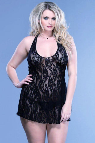 245L     Rose Lace Black Flower Halter Mini Dress with Matching G-String - Sub-Shop.comMini Dress - 3