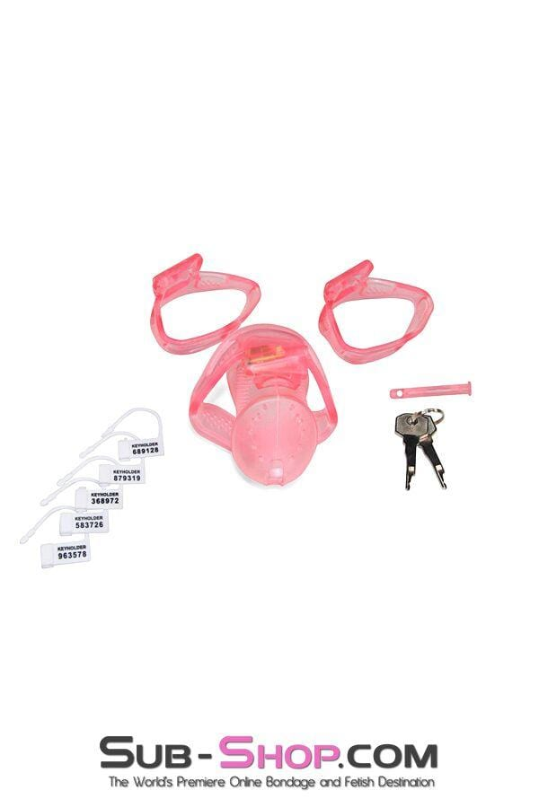 Mistress's Sissy Slave Pink High Security Pin Tumbler Ventilated Male Chastity Device with Numbered Plastic Locks - Sale BDSM, Bondage Gear, Adult Toys, Bondage Sex, Orgasm Belt, Male Chastity, Bondage Gag. Bondage Slave Collars, Wrist Cuffs, Submissive, Dominant, Master, Mistress, Cross Dressing, Sex Toys, Bondage Sale, Bondage Clearance, MEGA Deal Bondage, Sub-Shop Bondage and Fetish Superstore