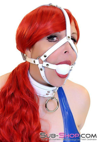 2474A     Pure Desire White Leather Ballgag Trainer, White Ball - Sub-Shop.comGags - 2