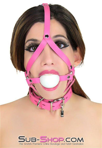 2526A     Hot Pink Leather Ballgag Trainer, White Ball - Sale BDSM, Bondage Gear, Adult Toys, Bondage Sex, Orgasm Belt, Male Chastity, Gags. Bondage Slave Collars, Wrist Cuffs, Submissive, Dominant, Master, Mistress, Crossdresser, Sub-Shop Bondage and Fetish Superstore