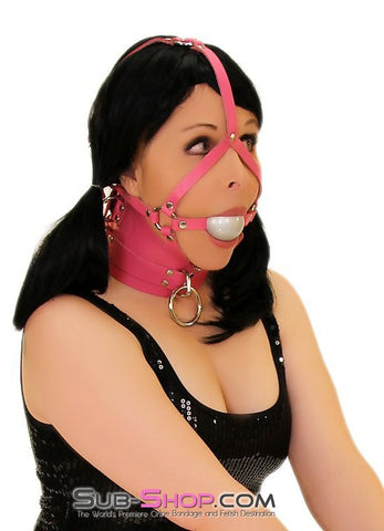 1659A      Controlled Hot Pink Leather Bondage Posture Collar - Sub-Shop.comCollar - 12