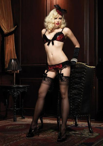2612L      Temptress Red Leopard Wet Look Bra, Panty and Garter Belt Set <b>Black Friday Blowout!</b> - Sub-Shop Bondage and Fetish Superstore