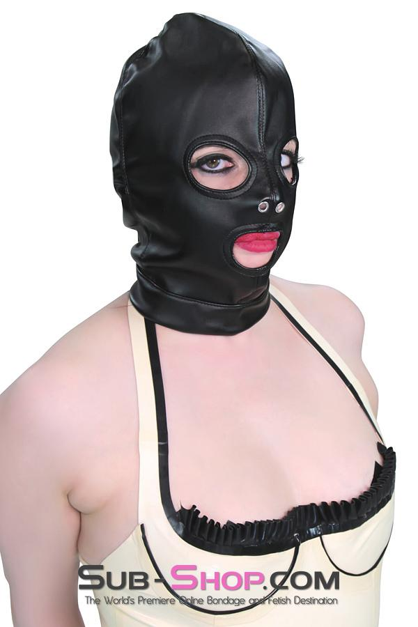 2772M      Soft Leatherette Open Mouth and Eyes Lacing Hood - Sale BDSM, Bondage Gear, Adult Toys, Bondage Sex, Orgasm Belt, Male Chastity, Gags. Bondage Slave Collars, Wrist Cuffs, Submissive, Dominant, Master, Mistress, Crossdresser, Sub-Shop Bondage and Fetish Superstore