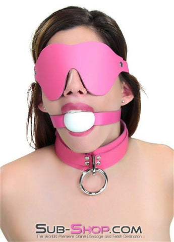 1665A      Kept Woman Locking Hot Pink Leather Bondage Collar - Sub-Shop.comCollar - 2