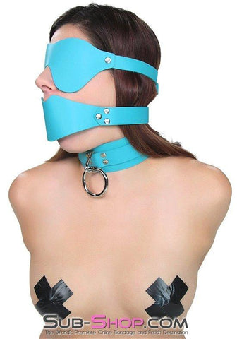 3408A   Diamond Blue In The Dark Leather Blindfold - Sale BDSM, Bondage Gear, Adult Toys, Bondage Sex, Orgasm Belt, Male Chastity, Gags. Bondage Slave Collars, Wrist Cuffs, Submissive, Dominant, Master, Mistress, Crossdresser, Sub-Shop Bondage and Fetish Superstore