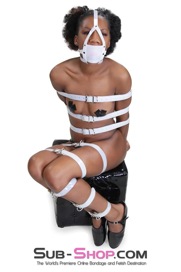 3800A      Pearl White PVC Bondage Straps - Sale BDSM, Bondage Gear, Adult Toys, Bondage Sex, Orgasm Belt, Male Chastity, Gags. Bondage Slave Collars, Wrist Cuffs, Submissive, Dominant, Master, Mistress, Crossdresser, Sub-Shop Bondage and Fetish Superstore