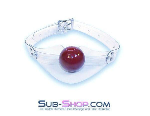 3444A    Sight Gag Clear Panel Gag, Red Ball - Sale BDSM, Bondage Gear, Adult Toys, Bondage Sex, Orgasm Belt, Male Chastity, Gags. Bondage Slave Collars, Wrist Cuffs, Submissive, Dominant, Master, Mistress, Crossdresser, Sub-Shop Bondage and Fetish Superstore