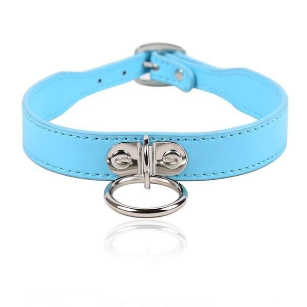 3458RS   Put A Ring On It Diamond Blue Slavegirl Collar - <b>MEGA Deal</b> - Sale BDSM, Bondage Gear, Adult Toys, Bondage Sex, Orgasm Belt, Male Chastity, Gags. Bondage Slave Collars, Wrist Cuffs, Submissive, Dominant, Master, Mistress, Crossdresser, Sub-Shop Bondage and Fetish Superstore
