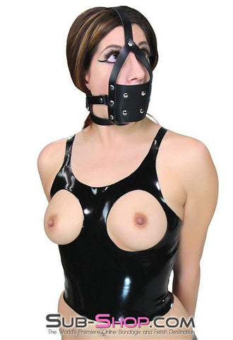 3465A    Training Tool Black Leather Penis Gag Trainer
