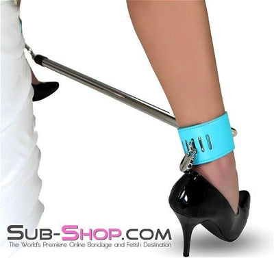 3483RS      Open Minded Spreader Bar with Locking Diamond Blue Ankle Cuffs - Sale BDSM, Bondage Gear, Adult Toys, Bondage Sex, Orgasm Belt, Male Chastity, Gags. Bondage Slave Collars, Wrist Cuffs, Submissive, Dominant, Master, Mistress, Crossdresser, Sub-Shop Bondage and Fetish Superstore