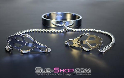 3613HS    Erotic Enslavement Stainless Steel Bondage Collar with Clover Clamps - Sale BDSM, Bondage Gear, Adult Toys, Bondage Sex, Orgasm Belt, Male Chastity, Gags. Bondage Slave Collars, Wrist Cuffs, Submissive, Dominant, Master, Mistress, Crossdresser, Sub-Shop Bondage and Fetish Superstore