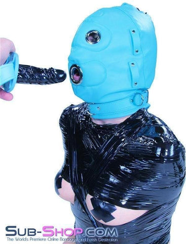 3710RS    Deep Throat Diamond Blue Locking Hood with Removable Penis Gag & Blindfold - Sub-Shop Bondage and Fetish Superstore