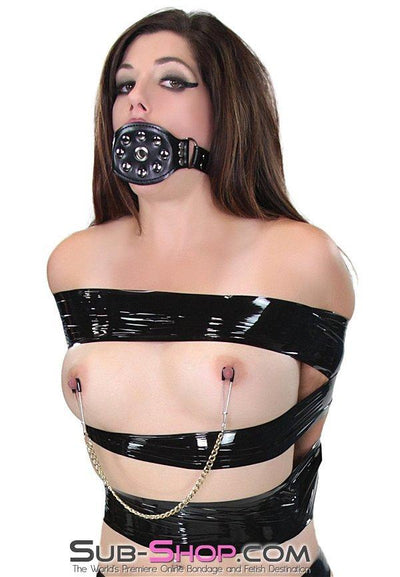 3776M      Locking Riveted Panel Breather Ballgag - Sale BDSM, Bondage Gear, Adult Toys, Bondage Sex, Orgasm Belt, Male Chastity, Gags. Bondage Slave Collars, Wrist Cuffs, Submissive, Dominant, Master, Mistress, Crossdresser, Sub-Shop Bondage and Fetish Superstore