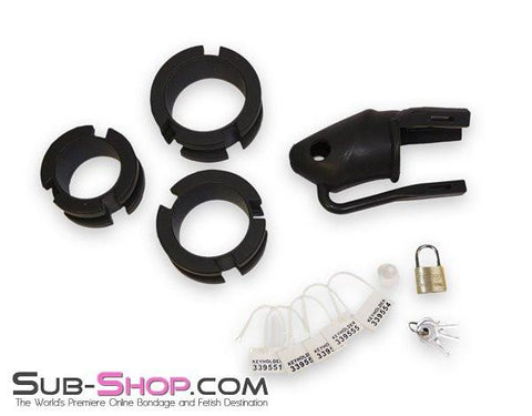 3780HS    Black Silicone Cock Trap Locking Chastity Set - Sale BDSM, Bondage Gear, Adult Toys, Bondage Sex, Orgasm Belt, Male Chastity, Gags. Bondage Slave Collars, Wrist Cuffs, Submissive, Dominant, Master, Mistress, Crossdresser, Sub-Shop Bondage and Fetish Superstore