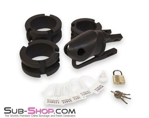 3780HS    Black Silicone Cock Trap Locking Chastity Set - Sub-Shop.comChastity - 6