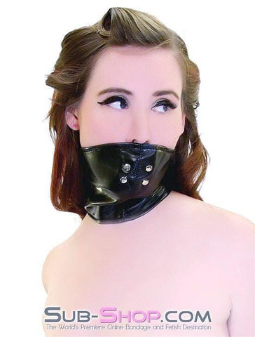 3784HS      Black Leatherette Lacing Scold's Mask with Stuffed Gag - Sub-Shop.comGags - 1