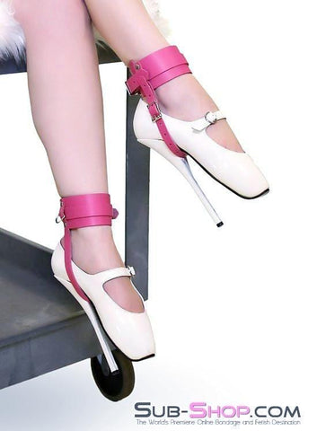 3798A      Hot Pink Leather High Heel Shoe Bondage Cuffs - Sub-Shop.comWrist and Ankle Bondage - 1