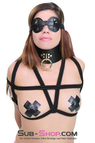 1651A  Gold Standard Deluxe Black Leather Bondage Posture Collar