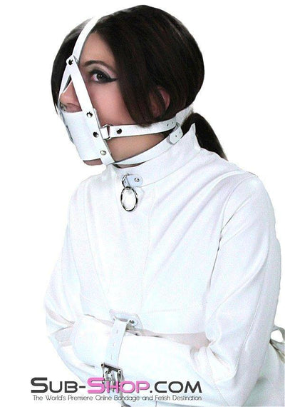436A     Silencer White Leather Cross Strap Panel Ball Gag Trainer - Sale BDSM, Bondage Gear, Adult Toys, Bondage Sex, Orgasm Belt, Male Chastity, Gags. Bondage Slave Collars, Wrist Cuffs, Submissive, Dominant, Master, Mistress, Crossdresser, Sub-Shop Bondage and Fetish Superstore